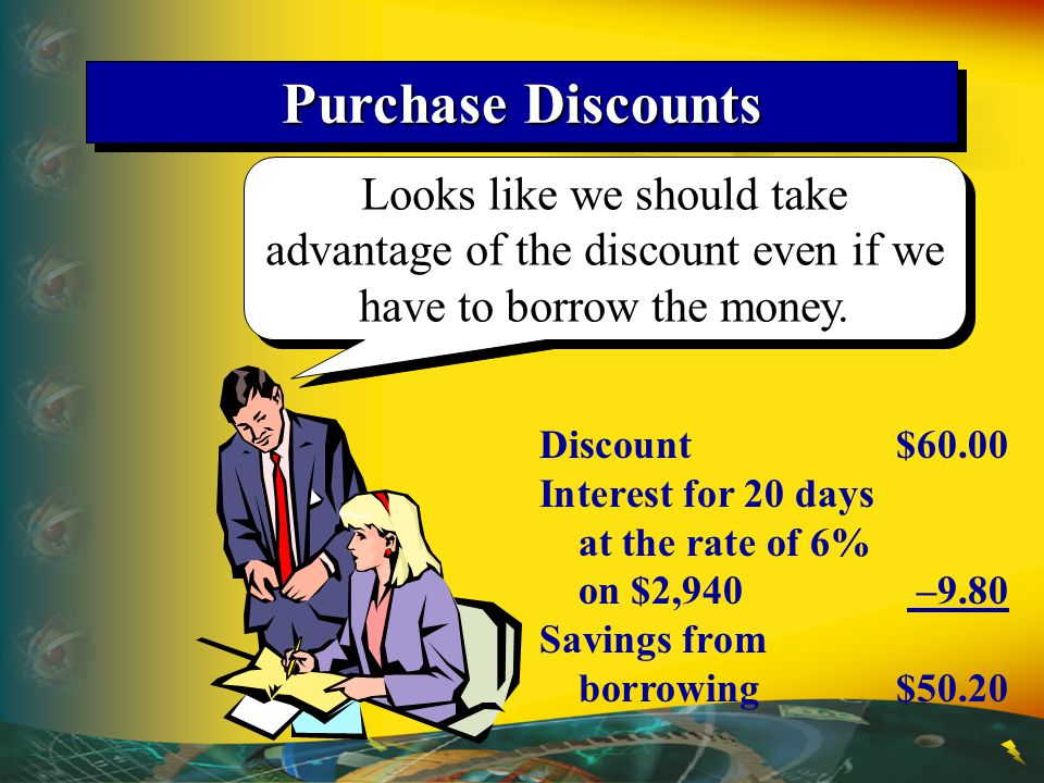 Purchase Discounts Looks like we should take advantage of the discount even if we have to borrow the money.