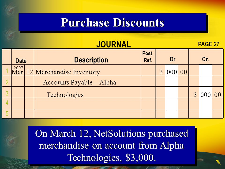 Purchase Discounts JOURNAL. PAGE 27. Post. Ref. Description. Dr Cr. Date.