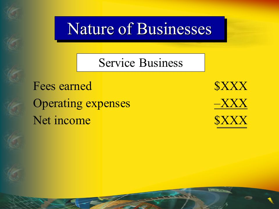 Nature of Businesses Service Business Fees earned $XXX
