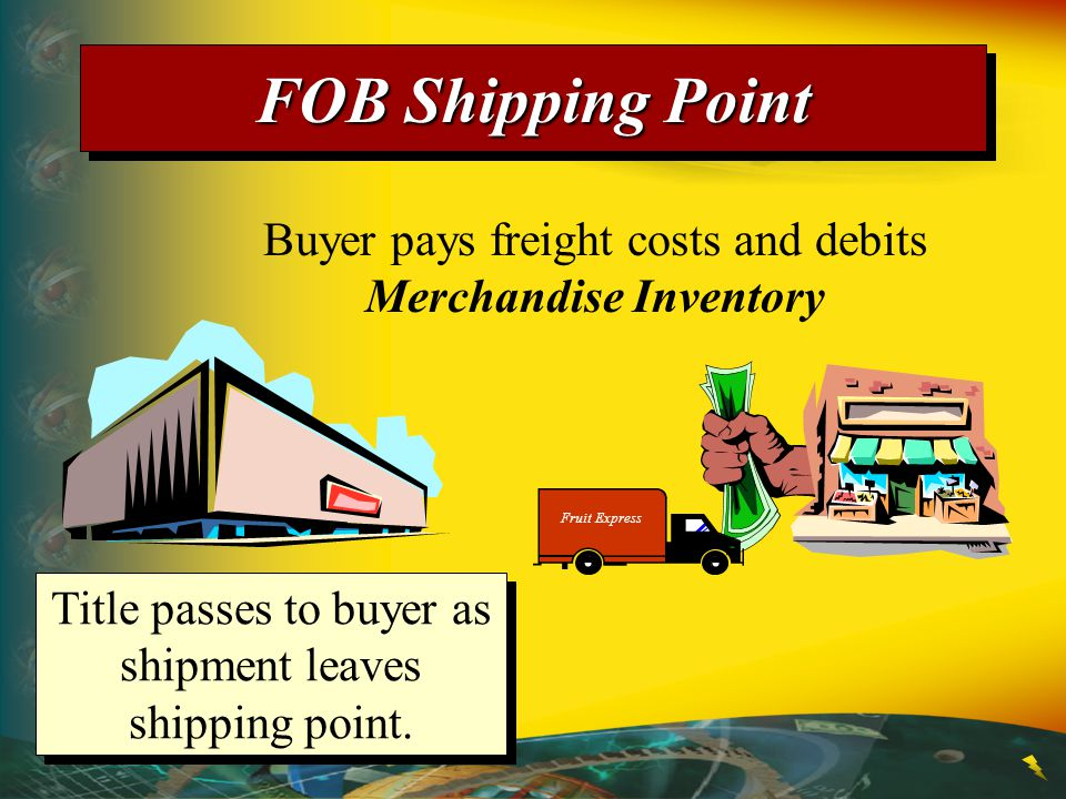 FOB Shipping Point Buyer pays freight costs and debits Merchandise Inventory. Fruit Express.