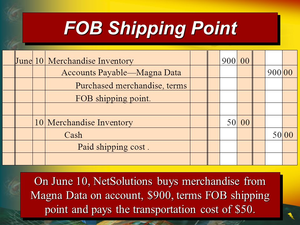 FOB Shipping Point June 10 Merchandise Inventory 900 00. Accounts Payable—Magna Data 900 00.
