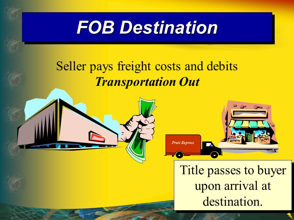 FOB Destination Seller pays freight costs and debits Transportation Out.