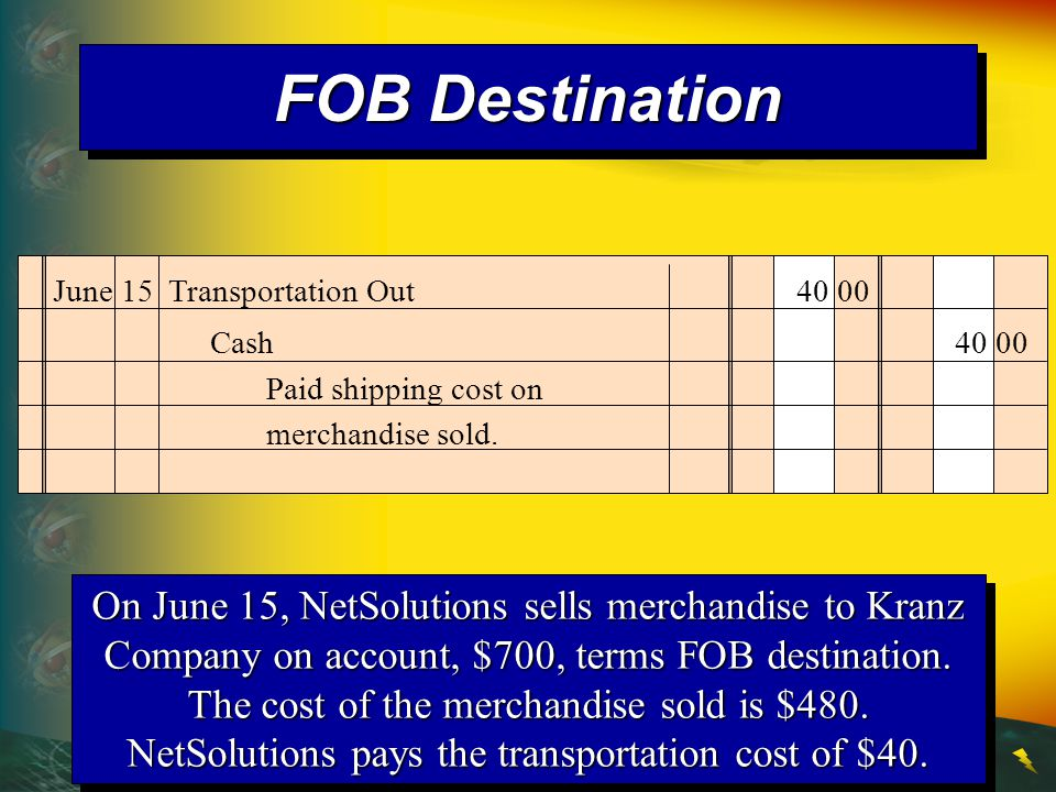 FOB Destination June 15 Transportation Out 40 00. Cash 40 00. Paid shipping cost on merchandise sold.