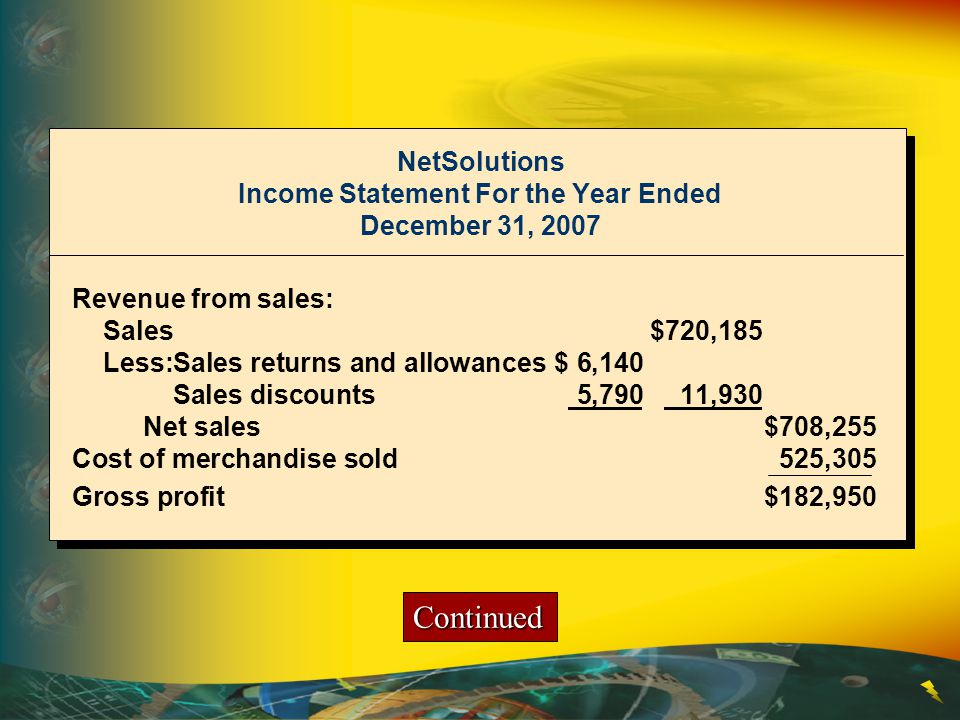 NetSolutions Income Statement For the Year Ended December 31, 2007