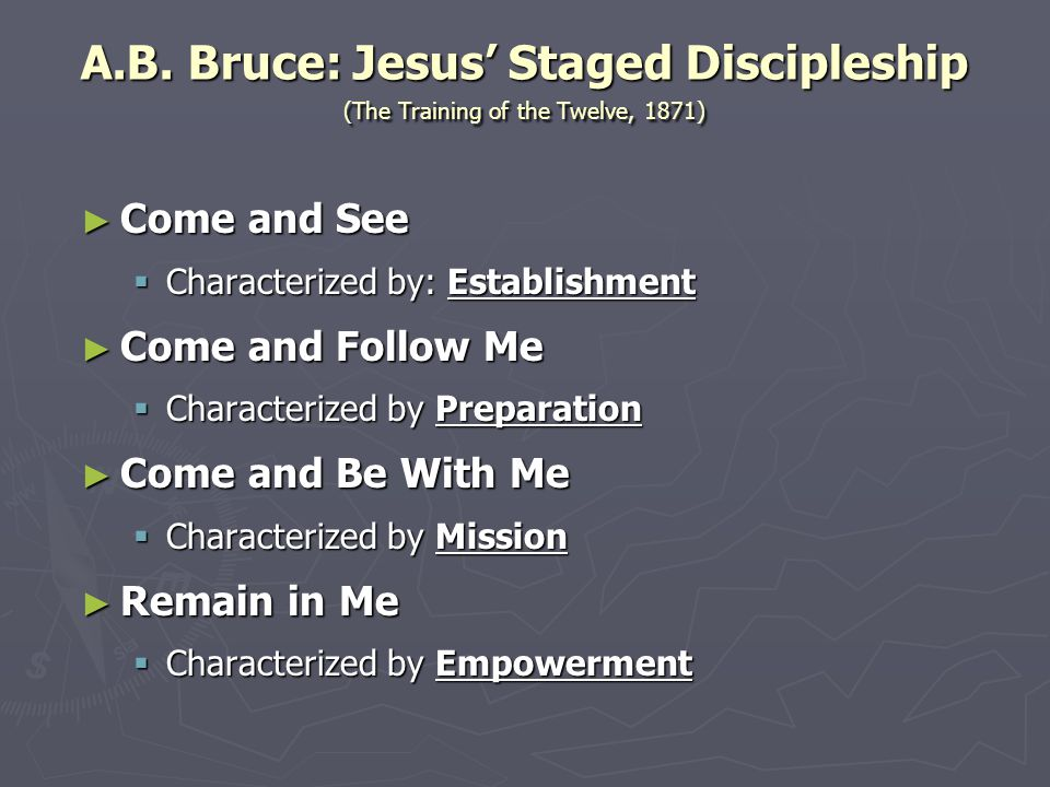 A.B. Bruce: Jesus' Staged Discipleship (The Training of the Twelve, 1871)