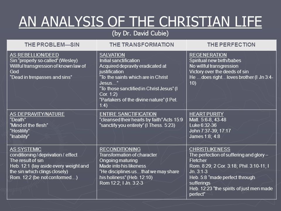 AN ANALYSIS OF THE CHRISTIAN LIFE (by Dr. David Cubie)