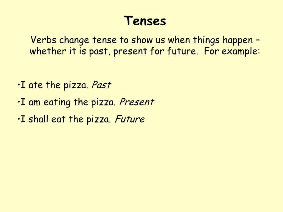 Tenses Verbs change tense to show us when things happen – whether it is past, present for future. For example: