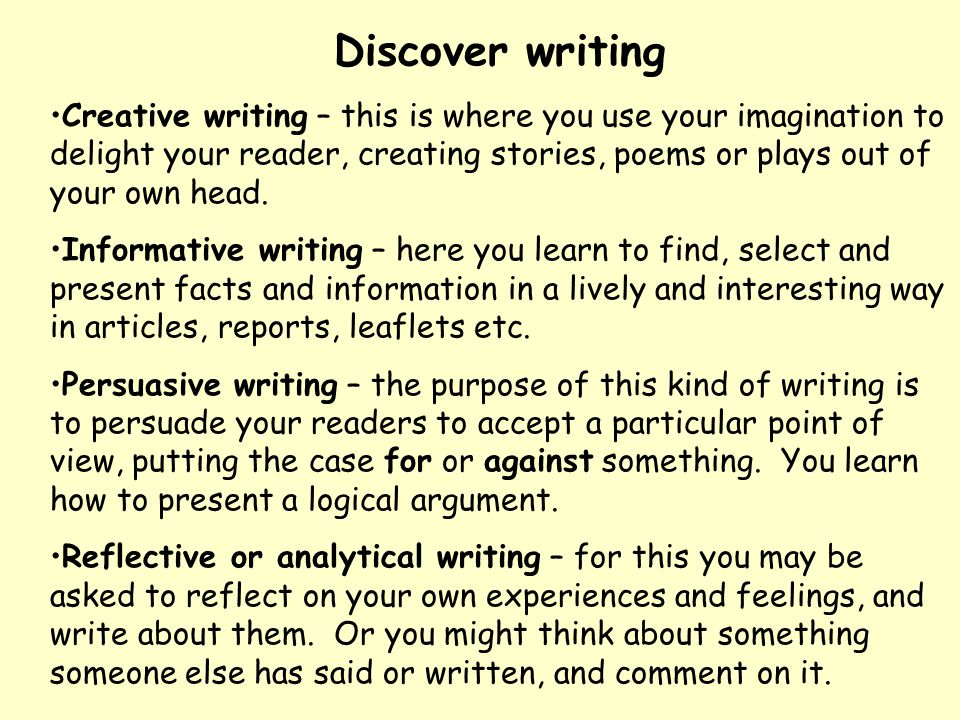 Discover writing