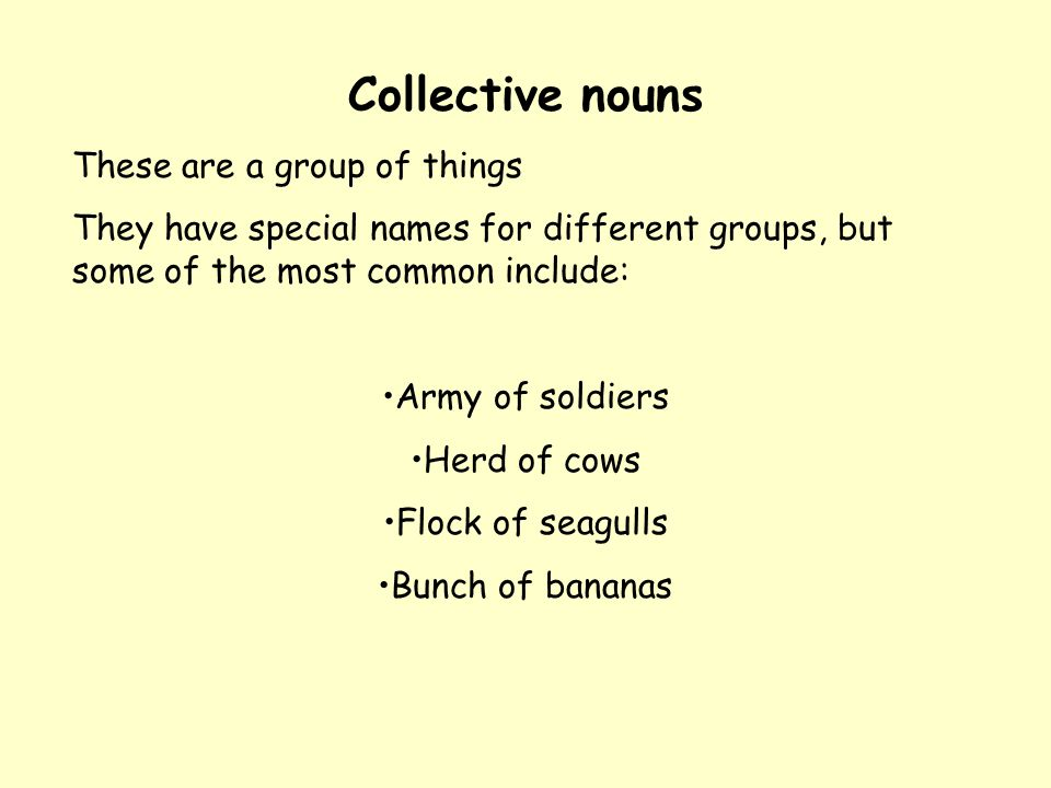 Collective nouns These are a group of things