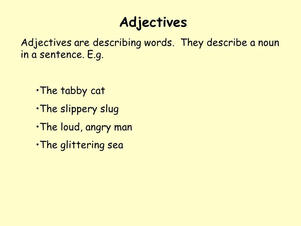 Adjectives Adjectives are describing words. They describe a noun in a sentence. E.g. The tabby cat.