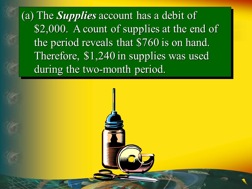 (a) The Supplies account has a debit of $2,000