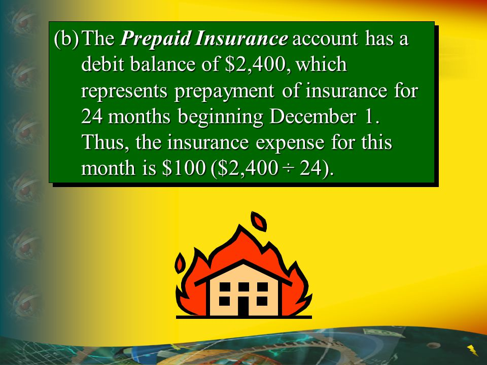 (b) The Prepaid Insurance account has a debit balance of $2,400, which represents prepayment of insurance for 24 months beginning December 1.