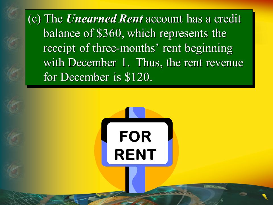 (c) The Unearned Rent account has a credit balance of $360, which represents the receipt of three-months' rent beginning with December 1. Thus, the rent revenue for December is $120.