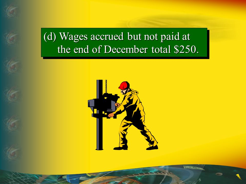 (d) Wages accrued but not paid at the end of December total $250.