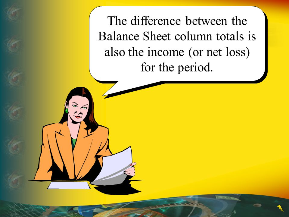 The difference between the Balance Sheet column totals is also the income (or net loss) for the period.