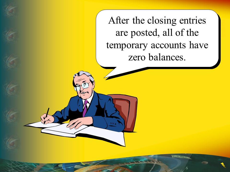 After the closing entries are posted, all of the temporary accounts have zero balances.