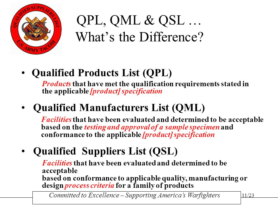 QPL, QML & QSL … What's the Difference