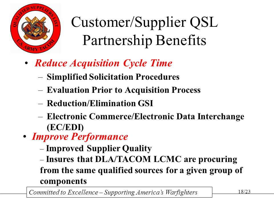 Customer/Supplier QSL Partnership Benefits