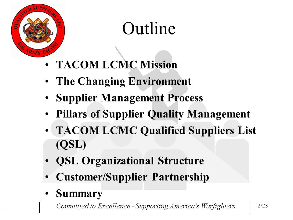 Outline TACOM LCMC Mission The Changing Environment