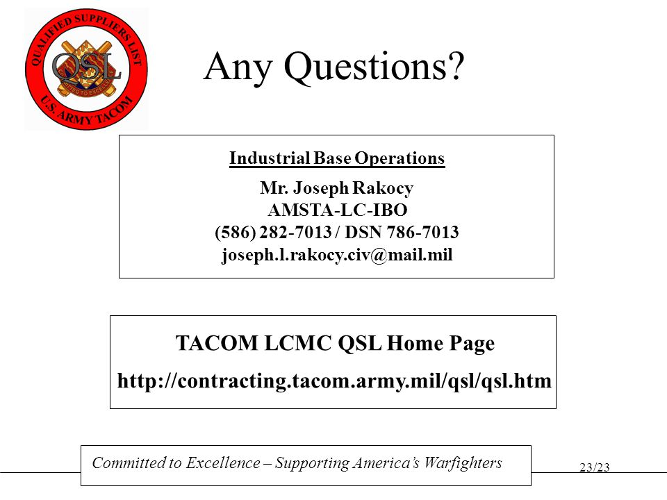 Industrial Base Operations TACOM LCMC QSL Home Page