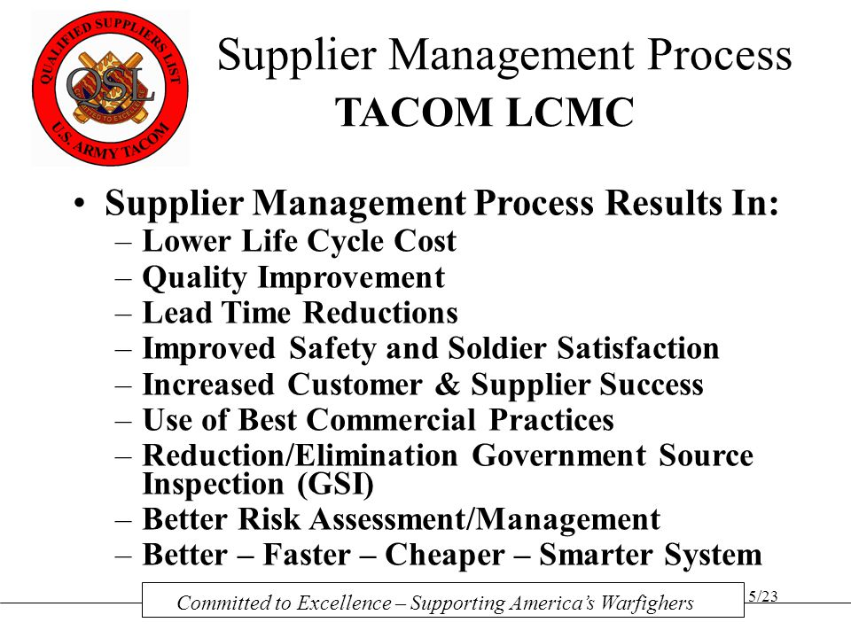 Supplier Management Process TACOM LCMC