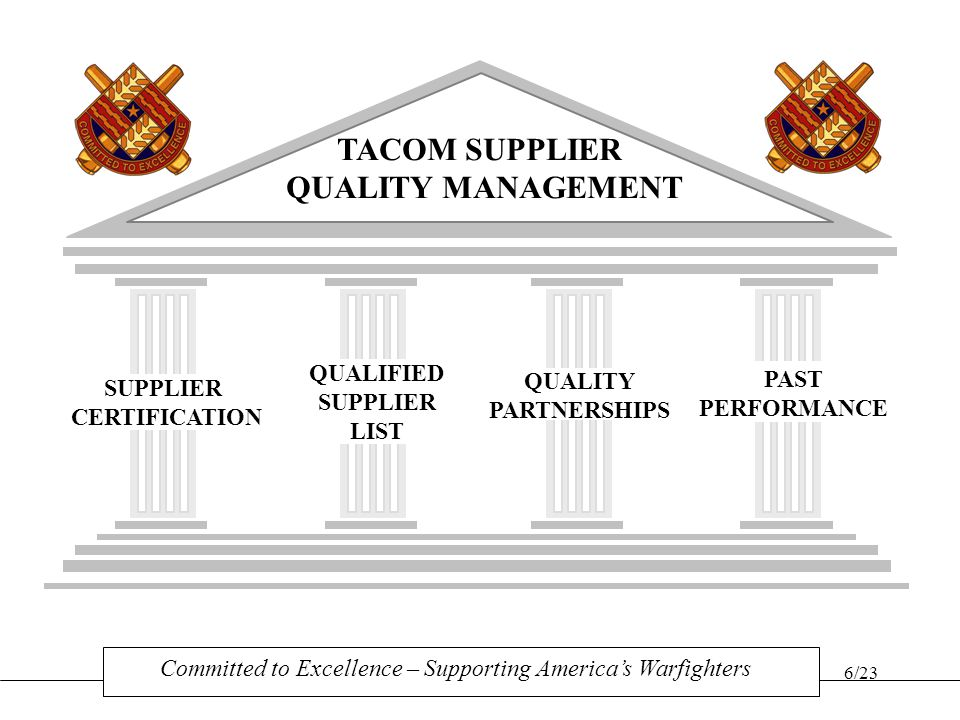 TACOM SUPPLIER QUALITY MANAGEMENT
