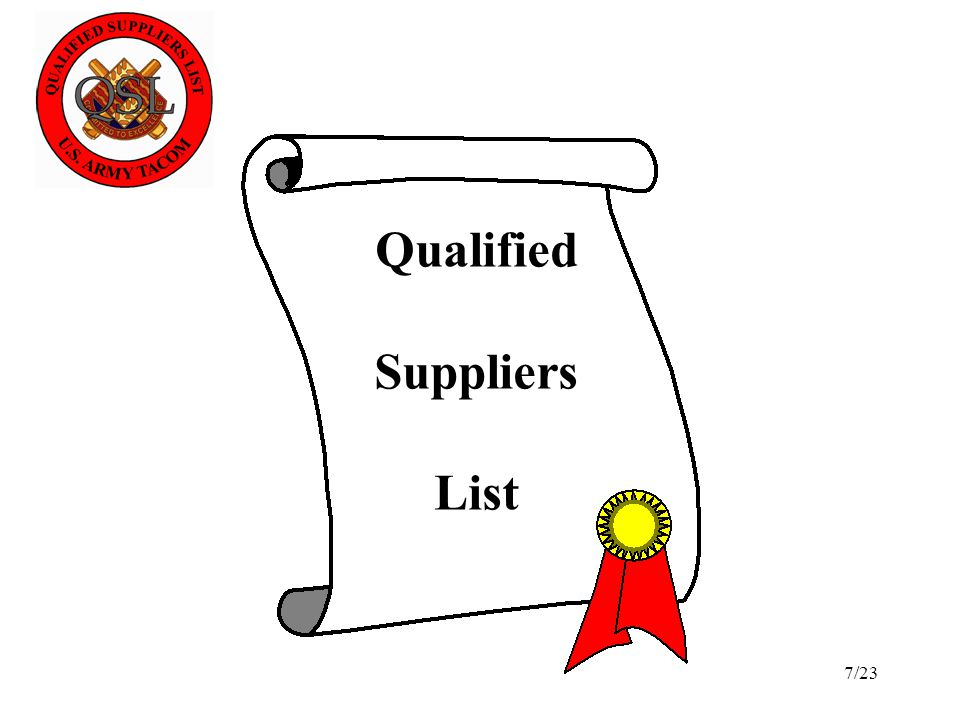 Qualified Suppliers List