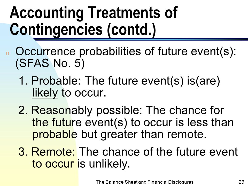 Accounting Treatments of Contingencies (contd.)