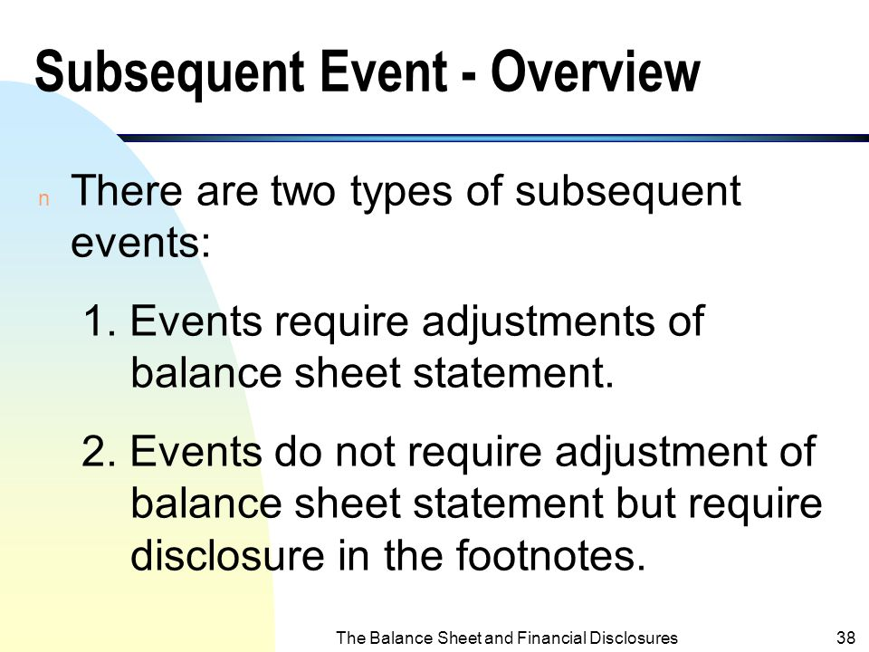 Subsequent Event - Overview