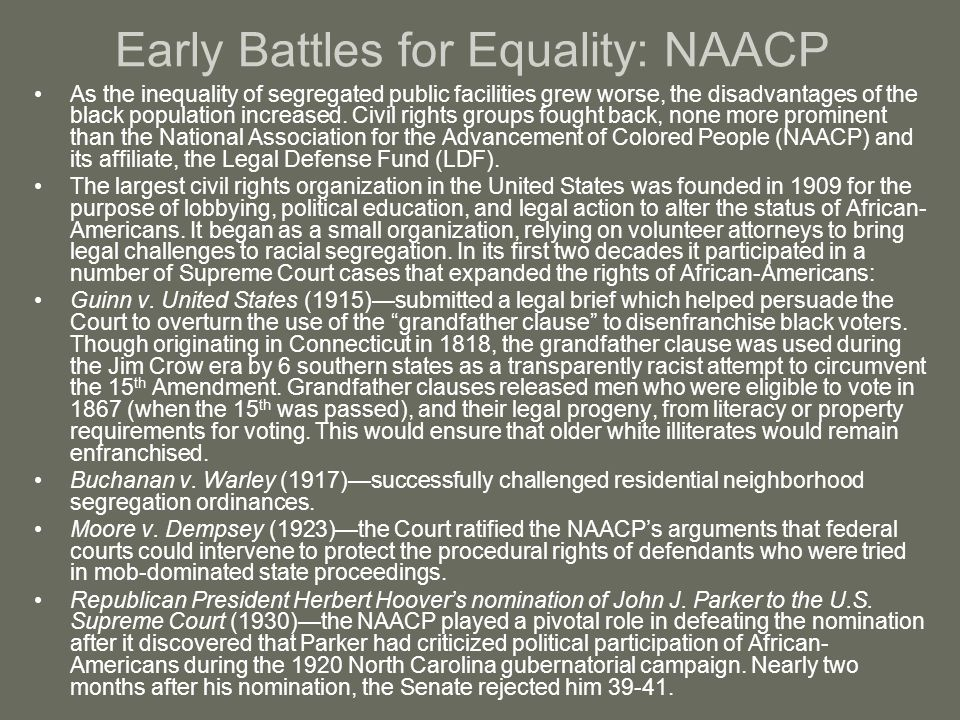 Early Battles for Equality: NAACP