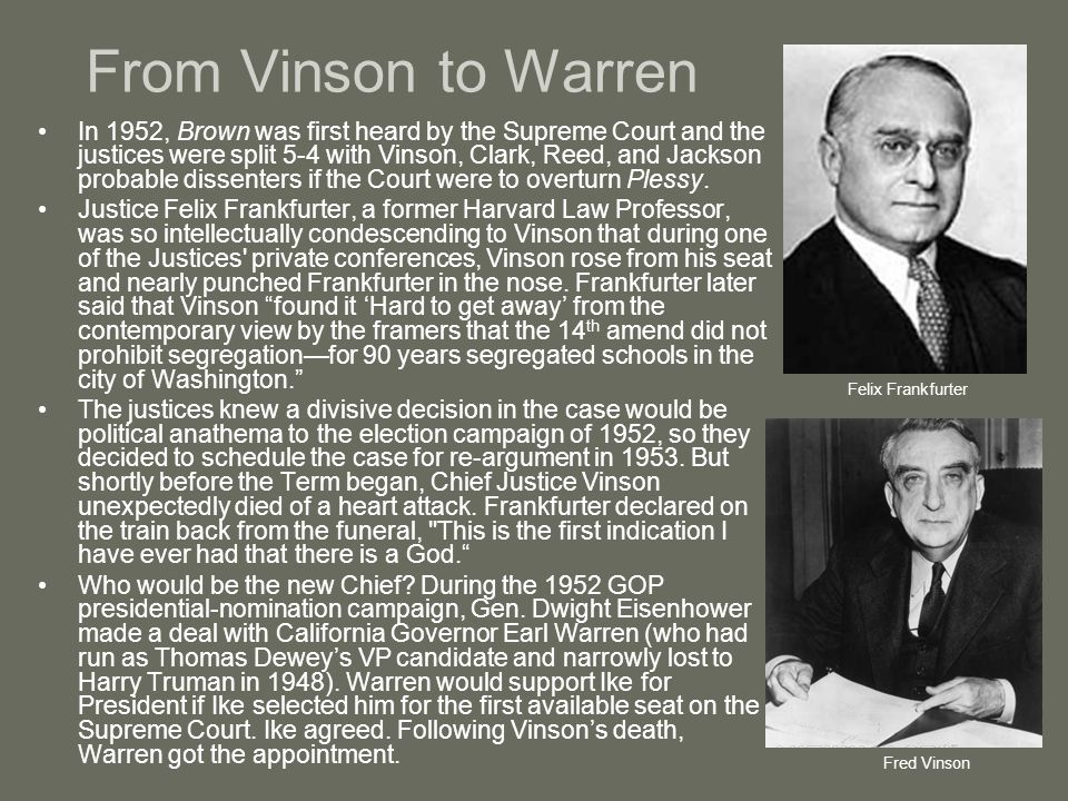 From Vinson to Warren
