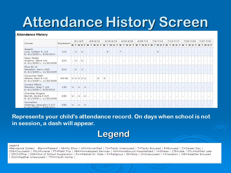 Attendance History Screen