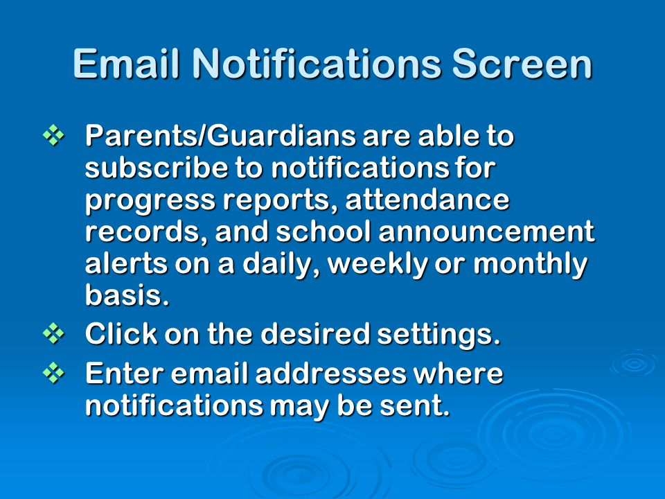Email Notifications Screen