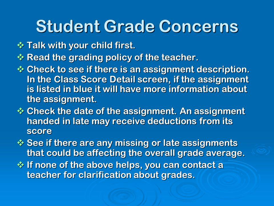 Student Grade Concerns