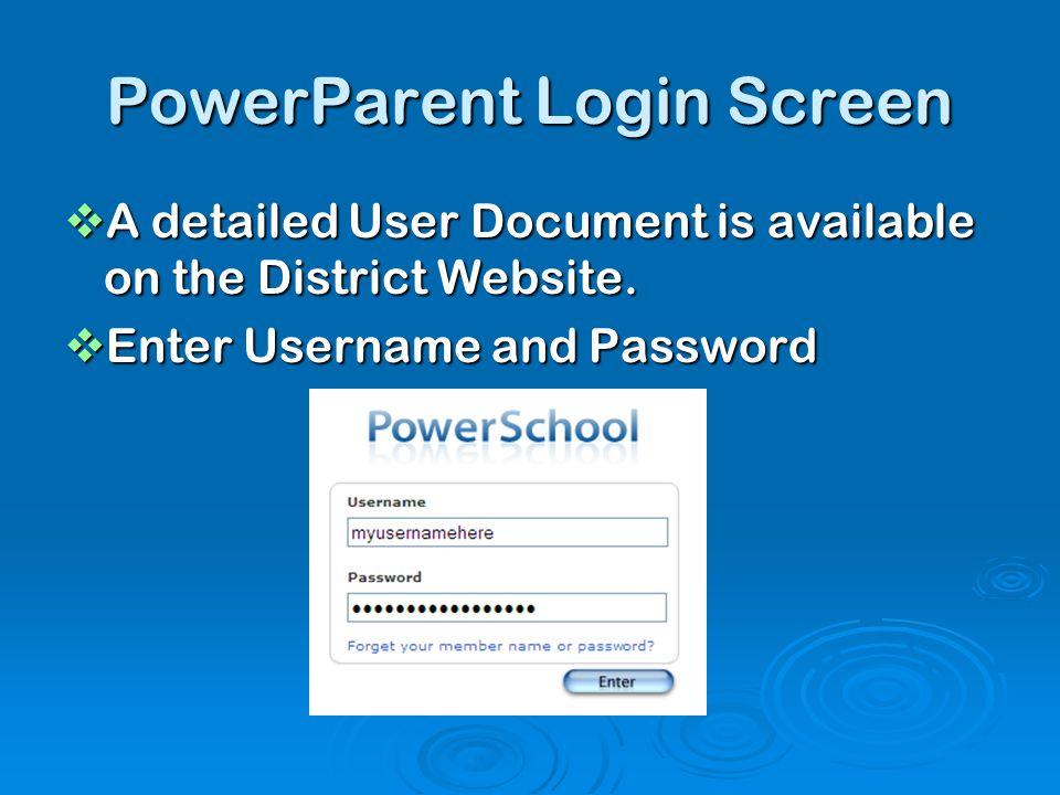PowerParent Login Screen