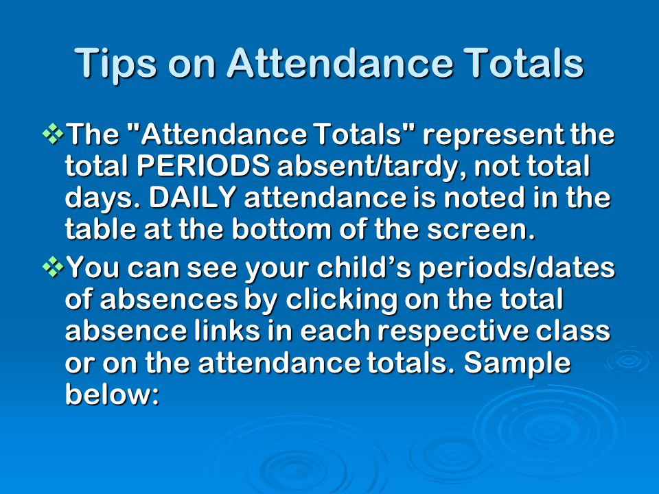 Tips on Attendance Totals