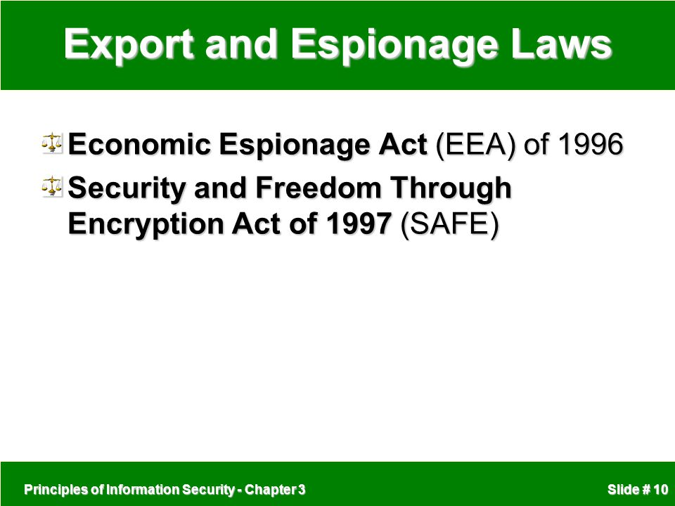 Export and Espionage Laws