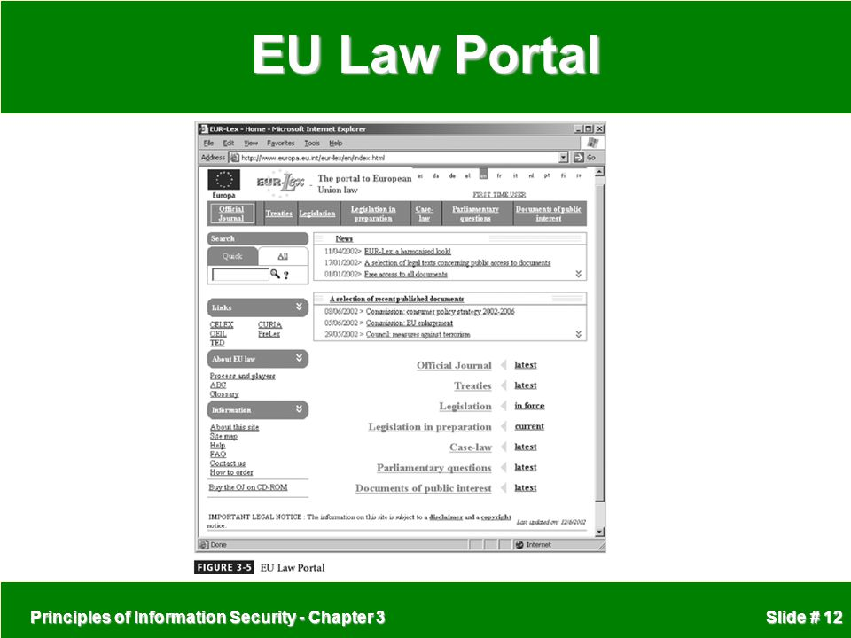 EU Law Portal Principles of Information Security - Chapter 3