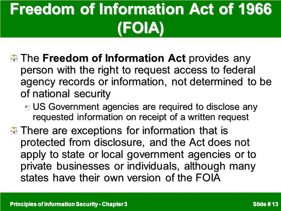 Freedom of Information Act of 1966 (FOIA)