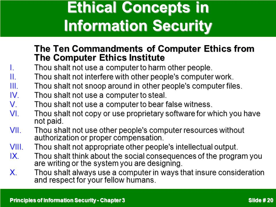 Ethical Concepts in Information Security