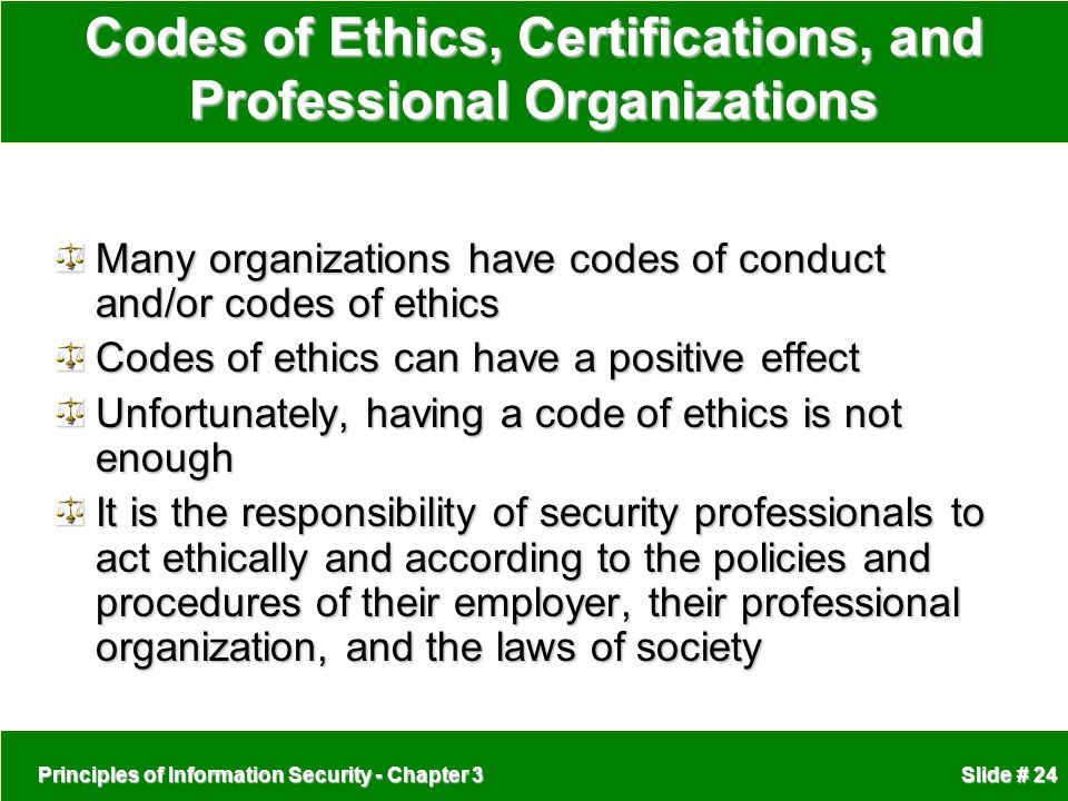 Codes of Ethics, Certifications, and Professional Organizations