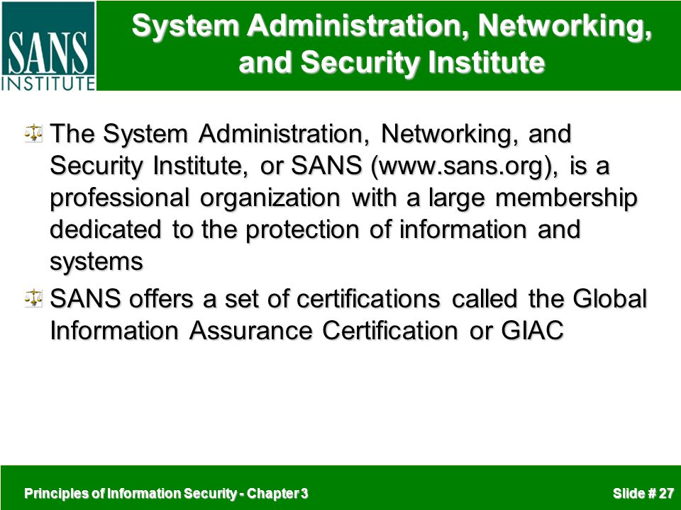 System Administration, Networking, and Security Institute