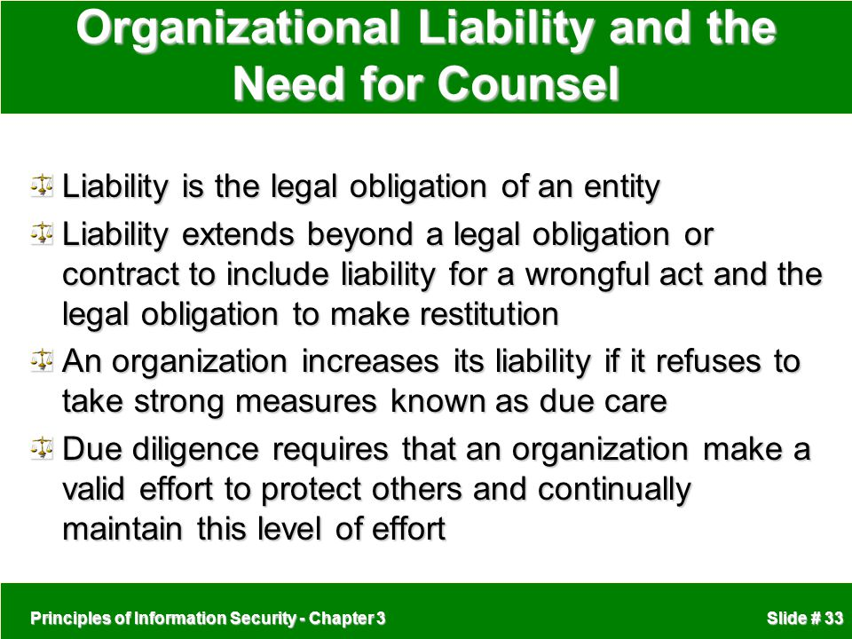 Organizational Liability and the Need for Counsel