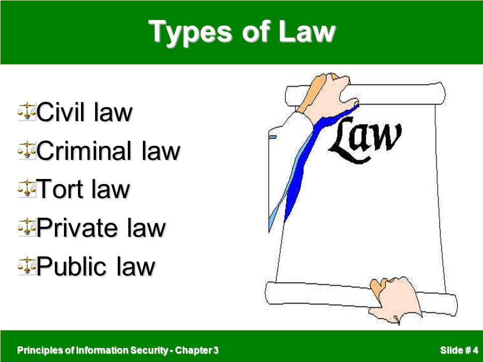 Types of Law Civil law Criminal law Tort law Private law Public law