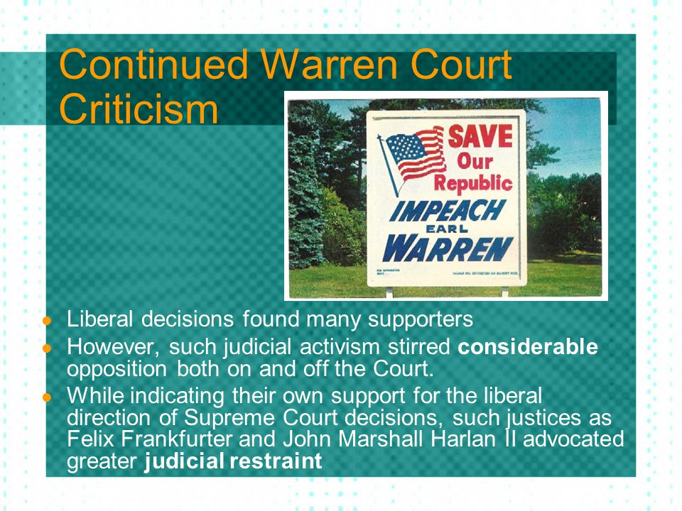 Continued Warren Court Criticism