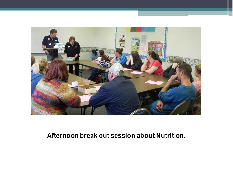 Afternoon break out session about Nutrition.