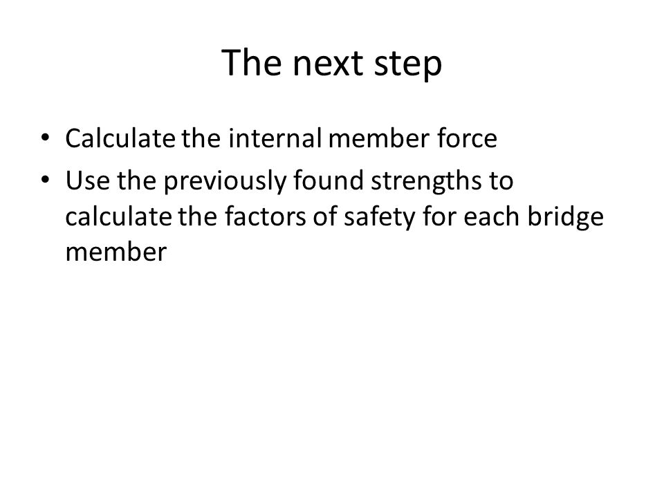 The next step Calculate the internal member force