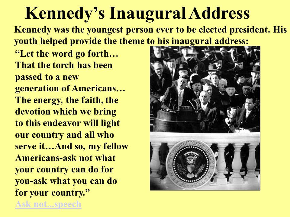 john f kennedys inaugural address Transcript of president john f kennedy's inaugural address (1961) vice president johnson, mr  transcription courtesy of the john f kennedy presidential library.