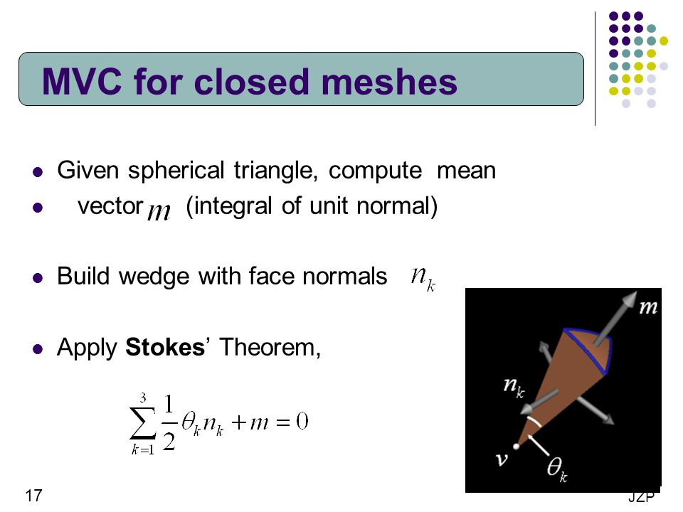 MVC for closed meshes Given spherical triangle, compute mean