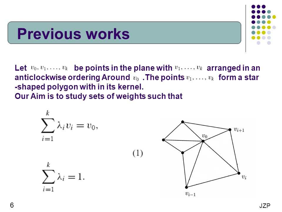 Previous works Let be points in the plane with arranged in an